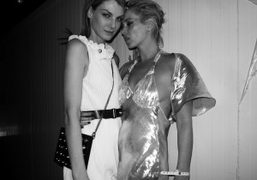 Angela Lindvall and Kate Moss backstage after the Gossip performance at the…