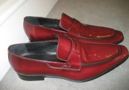 Dior Homme F/W 09/10 red patent leather penny loafers. Photo Caroline Gaimari