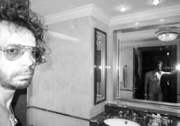 Olivier Zahm, after sleeping for 24 hours straight, Ritz-Carlton Hotel, Moscow. Photo…
