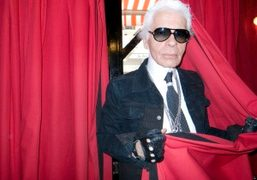 Karl Lagerfeld entering Le Montana to shoot the K advertisement campaign that…