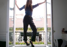 Natacha Ramsay wearing olivier's old Helmut Lang pants and André's denim shirt,…