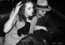 Charlotte Kemp Muhl and Sean Lennon in Jean-Yves Lefur's black Citroen DS,…