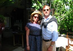 Olympia Le-Tan and Paul Sevigny after lunch at La Colombe d'Or, Saint…
