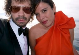 Olivier Zahm and Delphine Pastor on the boat going to the Amfar…