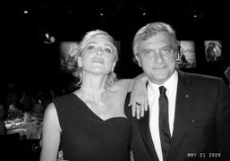 Sharon Stone and Sidney Toledano at the amfAR benefit dinner at the…