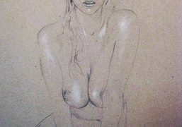 A drawing of Natacha Ramsay by Cédric Rivrain. Cedric Rivrain's exhibition Drawings…