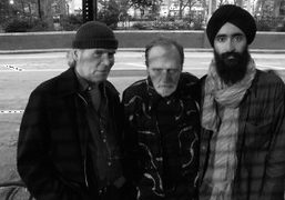 Brice Marden, Rene Ricard and Waris Ahluwalia at the opening of Rene's…