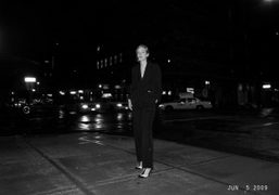 The très chic Mitra Farahmand in her Yves Saint Laurent tuxedo, New…