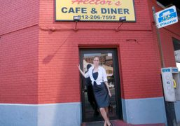 MITRA FARAHMAND in front of Hector's, the diner from Taxi Driver that…