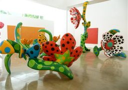 A room full of Yayoi Kusama works from the recently opened Flowers…