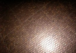 The floor of pennies at the new Standard Grill, New York. Photo…