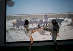 Natacha Ramsay and Camille Bidault-Waddington in front of Meredith Danluck's film at…