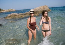 Natacha Ramsay and Lily McMenamy at the Plages des Salins, Saint-Tropez. Photo…