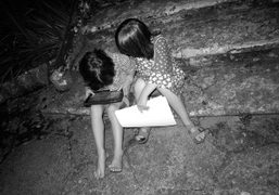 Camille Bidault Waddington's son (with an I-pad) and Olivier Zahm's daughter (with…