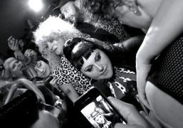 Beth Ditto being interviewed after the Versus S/S 2013 show, Milan.PhotoMarta Galli