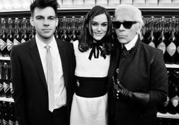 Musician James Righton, Keira Knightley and Karl Lagerfeld at the Chanel F/W 2014 show…