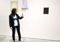 """Dominique Gonzalez-Foersterat her """"Euqinimod and Costumes"""" exhibition at 303 Gallery, New York…."""