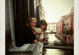 Tara Subkoff and Milla Jovovich before their Future/Perfect performance for the Venice...