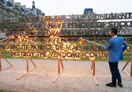 """Robert Montgomery for Each x Other """"Fire Poem"""" at the Jardin des..."""