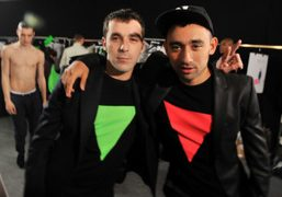 Menswear designer Romain Kemer and Nicola Formichetti backstage after the Mugler men's…