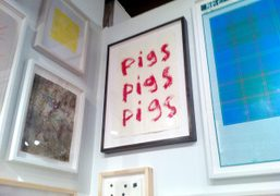 Harmony Korine's PIGS drawing in Karma booth at the Editions/Artists' Book Fair,…