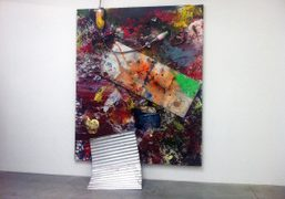 Dan Colen'strash painting in the exhibition Group Shoe curated by Joe Bradley,…
