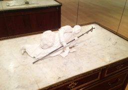 """Maurizio Cattelan """"Cosa Nostra"""" at Sotheby's, New York. Photo Bill Powers"""
