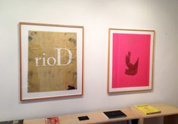 Two works on fabric by Walter Dahn at Half Gallery, New York. Photo…