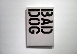 A painting by Christopher Wool at the group show Dogma, on view…