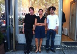 """CRAIG McDEAN, EMMA REEVES AND ARON MORELoutside the Half Galleryinstalling McDean """"Sumo""""show,…"""