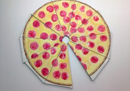 Nate Lowman's pizza painting featured in the inaugural group exhibition PIZZA TIME!,…
