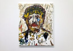 """Larry Clark's painting in his exhibition """"They thought I were but I…"""