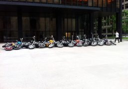 Dan Colen's motorcycle sculpture outside the Seagram Building on Park Avenue, New…