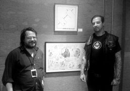 Max Schumann in Printed Matter booth with Wes Lang and the benefit…