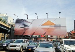 """Artist Louise Lawler's billboard """"Triangle (Adjusted to fit)"""" for the High Line,…"""