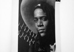 A photo ofJean-Michel Basquiat by William Coupon circa 1985 at Melet Mercantile,…
