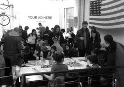 Dan Colen teaching kids to make flowers and M&M paintings at RxArt…