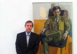 Alice Neel's son Richard in front of portrait his mom painted of…