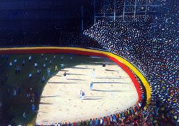 """Bull Ring painting by Harpo Marx in the new """"Marxism""""show at 303…"""