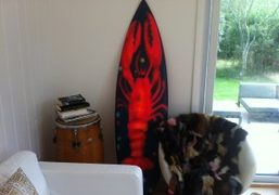 Lobster spraypainted on a surfboard by Jules de Balincourt at our house…
