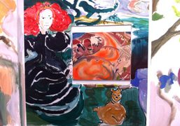 Sophie Von Hellermann paintings in the Greene Naftali booth at the Frieze Art Fair, New…