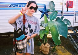 Sky Ferreira in front of the Slint trailer at FYF Fest, Los…