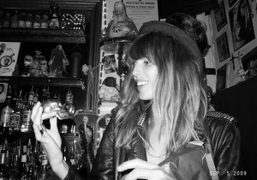 Lou Doillon's birthday, at her favorite bar Le Fanfaron, 6 Rue de…