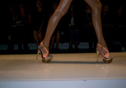The new Spring Summer 2010 Versace extra high fluo stiletto, Milano. Photo…