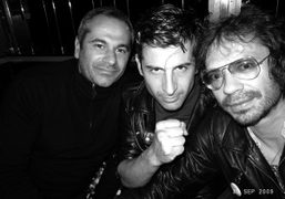 The three friends Jean-Yves Le Fur, André and Olivier Zahm at their…