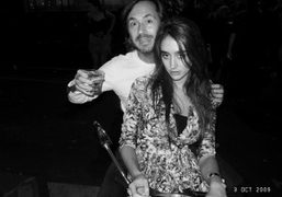 Natacha Ramsay with Marc Newson outside Le Montana during the Purple party,…