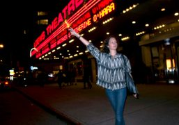 Jade Berreau hailing a taxi after leaving the test screening for Julian…