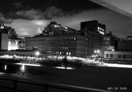 The view of the High Line from the ballroom at the Standard…