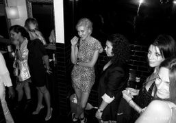 Waiting for the girls bathroom at the Jalouse Party at Le Baron,…