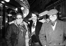 Jean Touitou, Elie Top and the musician and producer Bertrand Burgalat, outside…